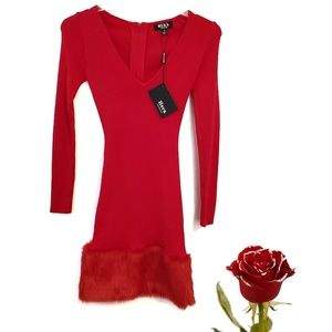 Hera collection Red Fitted Faux Fur Midi Dress